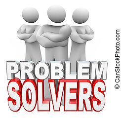 mensen, oplossen, solvers, gereed, probleem, jouw