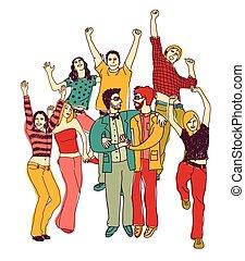mensen, paar, samen., vrolijk, regenboog, vrolijke , lgbt