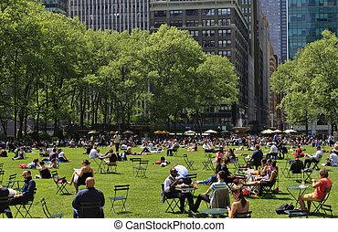 mensen, park, het genieten van, dag, bryant, aardig