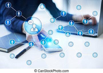 mensen, pictogram, network., smm., sociaal, media, marketing.