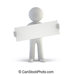 mensen, -, plank, leeg, kleine, witte , 3d