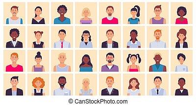 mensen, plein, avatar., set, multiethnic, portretten