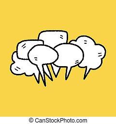 mensen, praatje, doodle