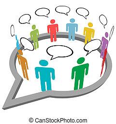 mensen, praatje, ontmoeten, binnen, sociaal, media, toespraak