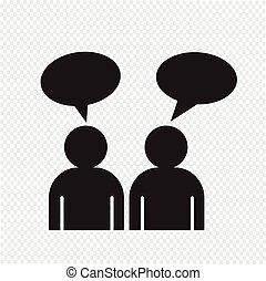 mensen, praatje, pictogram