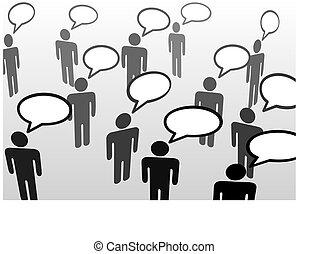 mensen pratend, everybodys, bel, communicatie, toespraak