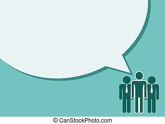 mensen pratend, toespraak, volkeren, bel, pictogram
