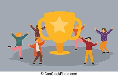 mensen, prijs, succes, trophy., gouden, kantoor, concept., team, zakelijk, cup., plat, vieren, prestatie, karakters, groot, werkmannen