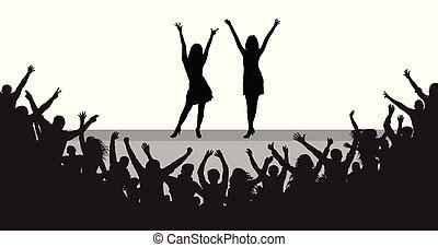 mensen, publiek, beroemdheden, silhouette., vrolijk, scène, vector