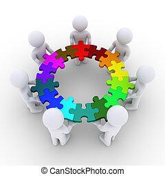 mensen, puzzelstukjes, samenhangend, vasthouden, cirkel
