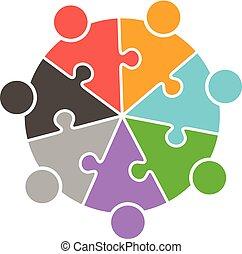 mensen, puzzelstukjes, teamwork, logo, cirkel