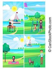 mensen, relaxen, in, zomer, park, affiches, verzameling