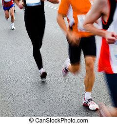 mensen, rennende , in, stad, marathon