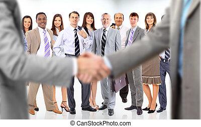 mensen, rillend, handel hands