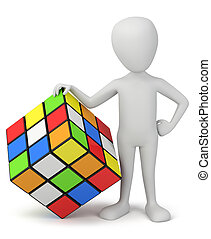 mensen, -, rubik's, kleine, cube., 3d