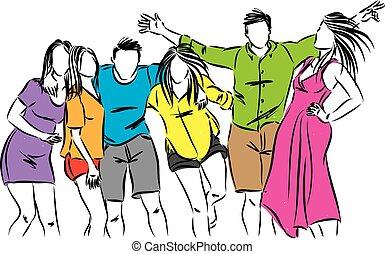 mensen, samen, vector, illustratie, vrienden, vrolijke