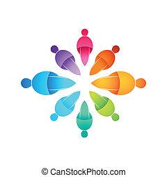 mensen, samenhangend, pictogram
