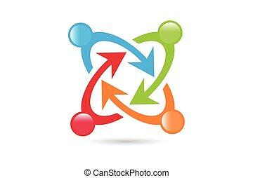 mensen, samenhangend, symbolen, en, teamwo