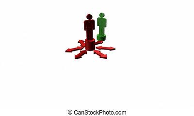 mensen, samenhangend, teamwork, arrows., concept