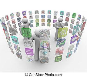 mensen, scherm, apps, geprojekteerd, muren, kiezen, beroeren