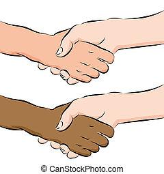 mensen schuddende handen, lijntekening