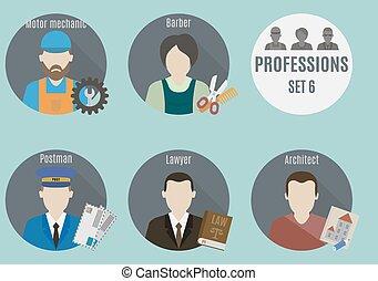 mensen., set, beroep, 6