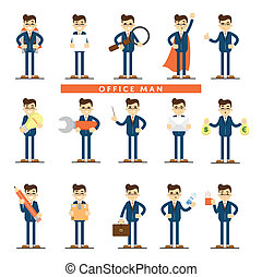mensen, set, pictogram