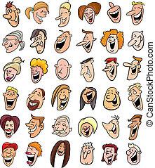 mensen, set, reusachtig, gezichten, lachen