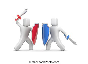 mensen, shields., zwaarden, twee, illustratie, vecht, 3d