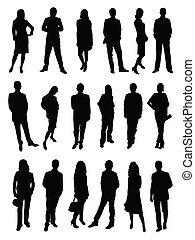 mensen, silhouette, zakelijk