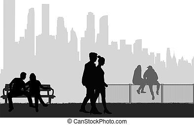 mensen, silhouettes, achtergrond.