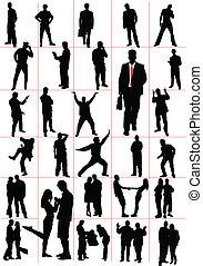mensen, silhouettes., men., women., pa