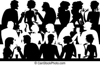 mensen, silhouettes, op, koffiehuis