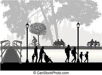 mensen, silhouettes, stedelijke , achtergrond.