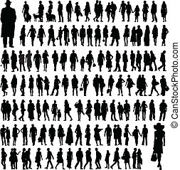 mensen, silhouettes
