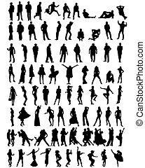 mensen, silhouettes, verzameling