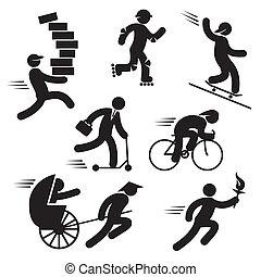 mensen, snelheid, iconen