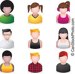 mensen, -, snotneus, iconen