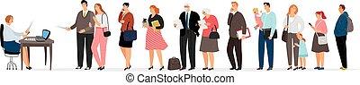 mensen, sociaal, rij, arbeider