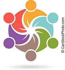 mensen, sociaal, template., logo, media