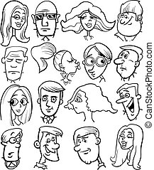 mensen, spotprent, karakters, gezichten