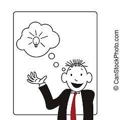 mensen, spotprent, met, idee