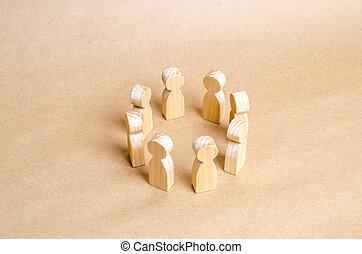 mensen, stander, in, een, circle., een, cirkel, van, mensen., de, concept, van, discussie, en, samenwerking, coördinatie, en, cooperation., communication., handel team, teamwork, team, spirit., houten, figuren, van, mensen