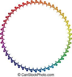 mensen, staten, teamwork, image., persons., cirkel, wereld, ...