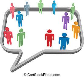 mensen, symbolen, in, sociaal, media, netwerk, tekstballonetje