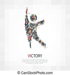 mensen, symbool, overwinning
