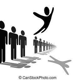 mensen, symbool, soars, persoon, sprongen, boven, lijn, uit
