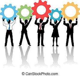 mensen, team, op, technologie, oplossing, toestellen