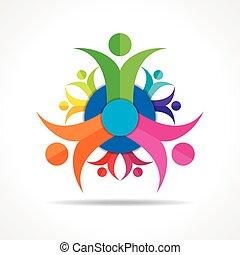 mensen, teamwork, -, groep, concept
