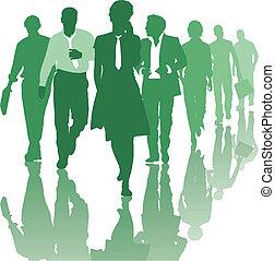 mensen, teamwork, handel team